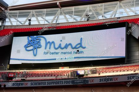 The giant screen shows Mind Branding in Wembley Stadium during the Sky Bet League 2 Play off Final between Exeter City and Northampton Town