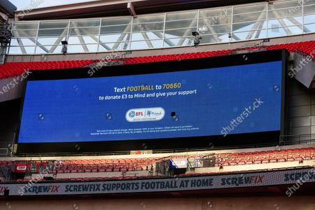 The giant screen shows EFL Mind Branding in Wembley Stadium during the Sky Bet League 2 Play off Final between Exeter City and Northampton Town
