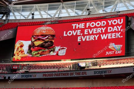 The giant screen shows Just Eat Branding in Wembley Stadium during the Sky Bet League 2 Play off Final between Exeter City and Northampton Town