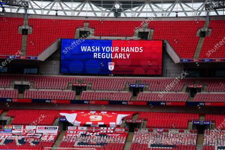 Sky Bet EFL 'Wash Your Hands' branding, inside Wembley Stadium, before the SkyBet League 2 play off final between Exeter City and Northampton Town