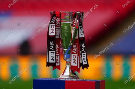 The League Two play off final trophy on a Sky Bet plinth