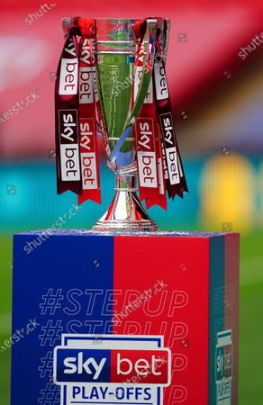 Stock Image of The League Two play off final trophy on a Sky Bet plinth