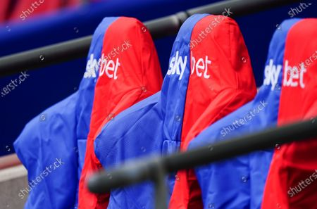 Stock Picture of Sky Bet branded dugout seat covers