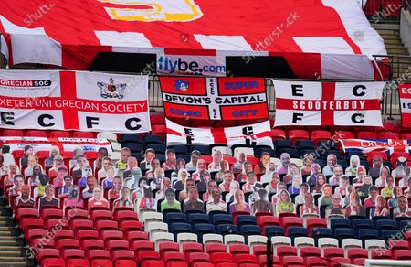 Faces on seats of the Exeter City fans inside Wembley Stadium, before the SkyBet League 2 play off final between Exeter City and Northampton Town
