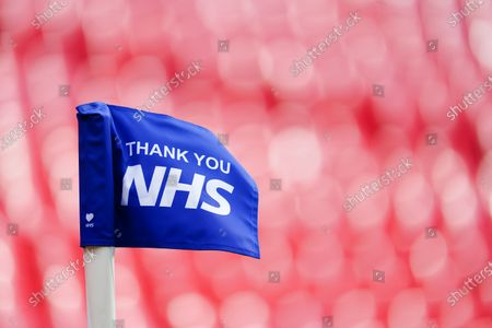 The Thank You NHS corner flag inside Wembley Stadium, before the SkyBet League 2 play off final between Exeter City and Northampton Town