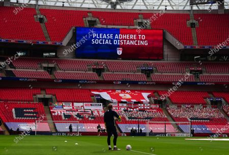 Sky Bet EFL 'Social Distancing' branding, inside Wembley Stadium, before the SkyBet League 2 play off final between Exeter City and Northampton Town