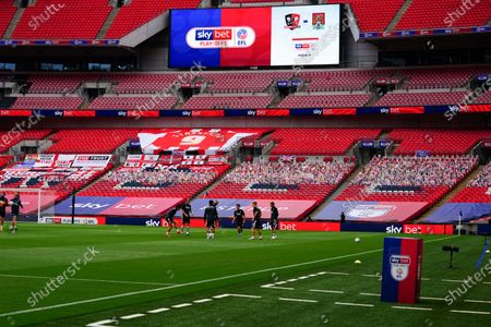 The Sky Bet Play off EFL trophy plinth and giant screen before the start of the SkyBet League 2 play off final between Exeter City and Northampton Town