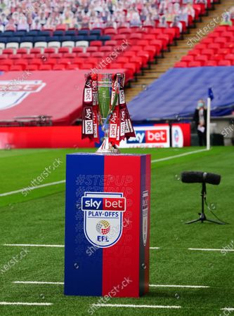 The Sky Bet Play off EFL trophy plinth before the start of the SkyBet League 2 play off final between Exeter City and Northampton Town