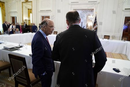 Commerce Secretary Wilbur Ross arrives for a meeting with the American Workforce Policy Advisory Board and President Donald Trump in the East Room of the White House, in Washington