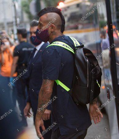 FC Barcelona's Arturo Vidal arrives at the concentration hotel in Vigo, Galicia, northern Spain, 26 June 2020. FC Barcelona will face Celta de Vigo on 27 June on a Spanish LaLiga soccer match.