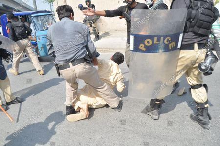 Editorial photo of Protest against inhuman and immoral attitude of police, Peshawar, Pakistan - 26 Jun 2020
