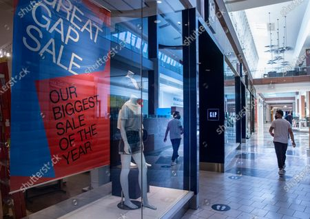 The Gap store inside the Westfield Topanga shopping mall in on Friday, June 26, 2020 in Canoga Park, CA. Gap and Kanye West signed a 10-year deal to create line of Yeezy apparel. (Brian van der Brug / Los Angeles Times)