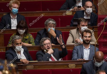 Alexis Corbiere, Jean-Luc Melenchon and Ugo Bernalicis during the weekly session of questions to the government at the national Assembly.