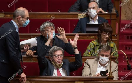 Jean-Luc Melenchon, Eric Coquerel, Michel Larve and Sabine Rubin during the weekly session of questions to the government at the national Assembly.