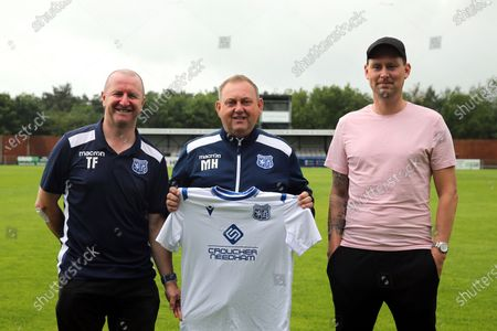 Stock Picture of Enfield FC Assistant Manager Terry Fogarty, Enfield coaching staff Enfield FC Manager Matt Hanning, Enfield FC Assistant Manager Jim Duggan during a media event at Enfield FC on 27th June 2020