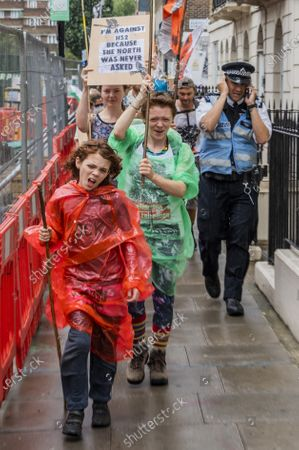 Editorial image of Extinction Rebellion Rebel Trail march and protest against HS2 arrives at Euston during the Coronavirus Lockdown, Euston, London, UK - 27 Jun 2020
