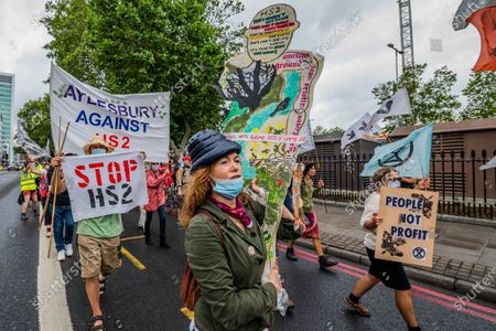 Editorial picture of Extinction Rebellion Rebel Trail march and protest against HS2 arrives at Euston during the Coronavirus Lockdown, Euston, London, UK - 27 Jun 2020