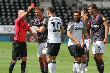 Referee Scott Duncan shows a red card to both Derby County forward Tom Lawrence and Reading defender Matt Miazga following an altercation at the end of the EFL Sky Bet Championship match between Derby County and Reading at the Pride Park, Derby