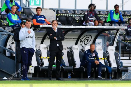 Derby County manager Phillip Cocu and goalkeeper coach Shay Given during the EFL Sky Bet Championship match between Derby County and Reading at the Pride Park, Derby