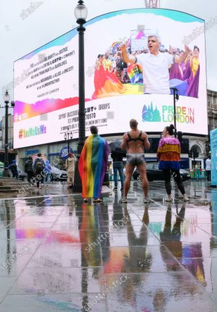 Pride in London 2020 is postponed, electronic billboard display in Piccadilly Circus