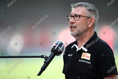 FC Union Berlin coach, Urs Fischer speaks to the media prior to the German Bundesliga soccer match between 1. FC Union Berlin and Fortuna Duesseldorf at Stadion An der Alten Foersterei in Berlin, Germany., 27 June 2020.