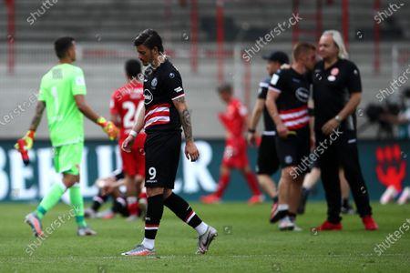 Dawid Kownacki of Fortuna Dusseldorf looks dejected after losing the German Bundesliga soccer match between 1. FC Union Berlin and Fortuna Duesseldorf at Stadion An der Alten Foersterei in Berlin, Germany., 27 June 2020.