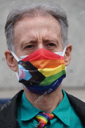 Human rights activist Peter Tatchell leads a march through the capital to mark the London Gay Liberation Front's 50th anniversary