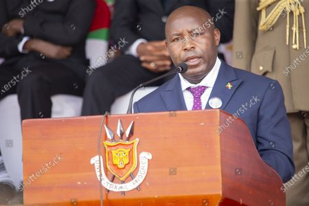 Newly-inaugurated Burundian President Evariste Ndayishimiye delivers a speech at the funeral of late Burundian President Pierre Nkurunziza in Gitega, Burundi, June 26, 2020. Late Burundian President Pierre Nkurunziza, who died in office of heart attack on June 8, was laid to rest on Friday at a state funeral in political capital Gitega, central Burundi.