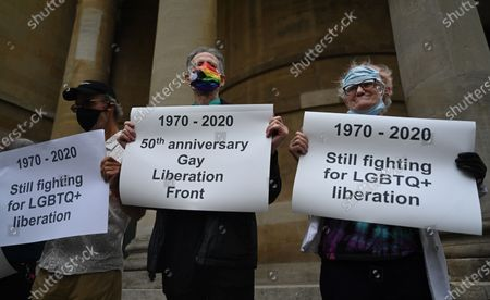 Peter Tatchell (C) and other veterans of the Gay Liberation Front hold banners during a protest of former members of GLF in London, Britain, 27 June 2020. Former members of London's Gay Liberation Front are marking the organization's 50th birthday by marching the route of cancelled pride parade. The protest also supports Black Lives Matter movement and the LGBTQ+ people.