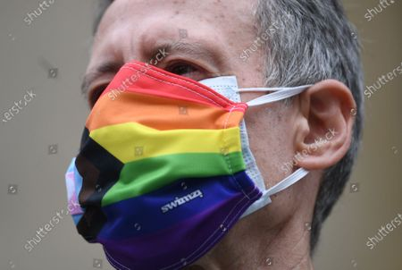 Peter Tatchell of the Gay Liberation Front during a protest of former members of GLF in London, Britain, 27 June 2020. Former members of London's Gay Liberation Front are marking the organization's 50th birthday by marching the route of cancelled pride parade. The protest also supports Black Lives Matter movement and LGBTQ+ people.