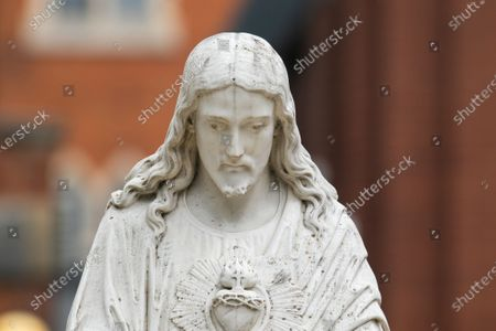 A statue of Jesus Christ in white at Wimbledon College. The  archbishop of Canterbury Justin Welby and Anglican church have said they should  reconsider the way statues of Jesus is portrayed  as white in the light of the Black Lives Matter protests