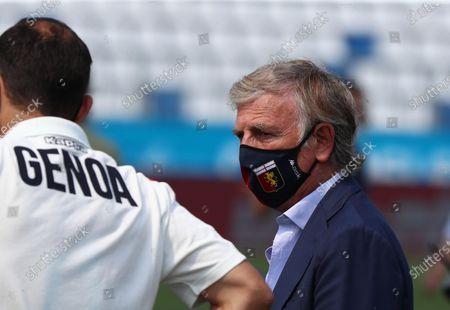 Genoa's president Enrico Preziosi wears a protective face mask prio to the Italian Serie A soccer match between Brescia Calcio and Genoa CFC at the Mario Rigamonti stadium in Brescia, Italy, 27 June 2020.
