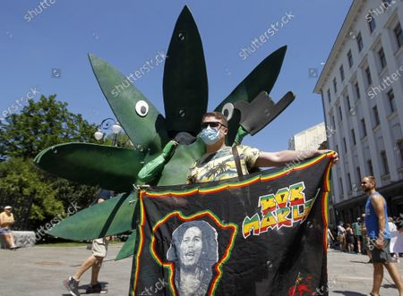 Stock Image of A participant holding a Bob Marley banner takes part during the March of Freedom outside the President Office in Kiev. The participants demand Ukrainian official's reform of state drug policy and decriminalization of the use of marijuana and medical cannabis.