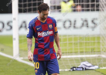 FC Barcelona's Lionel Messi reacts during the Spanish La Liga soccer match between Celta Vigo and FC Barcelona at Balaidos Stadium in Vigo, northern Spain, 27 June 2020.