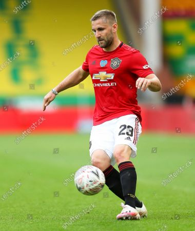 Luke Shaw of Manchester United in action during the English FA Cup quarter final soccer match between Norwich City and Manchester United in Norwich, Britain, 27 June 2020.