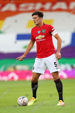 Harry Maguire of Manchester United in action during the English FA Cup quarter final soccer match between Norwich City and Manchester United in Norwich, Britain, 27 June 2020.