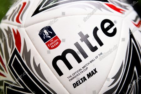 An official Mitre Delta Max match ball on display prior to the English FA Cup quarter final soccer match between Norwich City and Manchester United in Norwich, Britain, 27 June 2020.