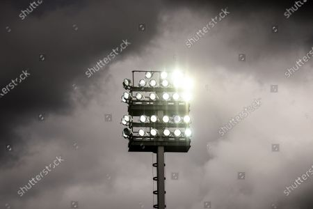 A flood light post during the English FA Cup quarter final soccer match between Norwich City and Manchester United in Norwich, Britain, 27 June 2020.