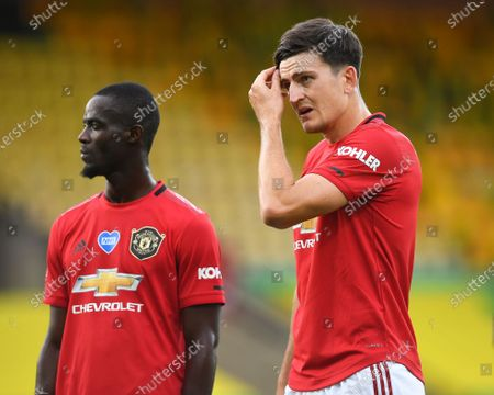 Harry Maguire (R) of Manchester United reacts during the English FA Cup quarter final soccer match between Norwich City and Manchester United in Norwich, Britain, 27 June 2020.