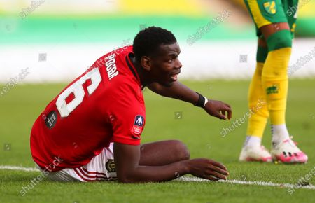 Paul Pogba of Manchester United reacts during the English FA Cup quarter final soccer match between Norwich City and Manchester United in Norwich, Britain, 27 June 2020.