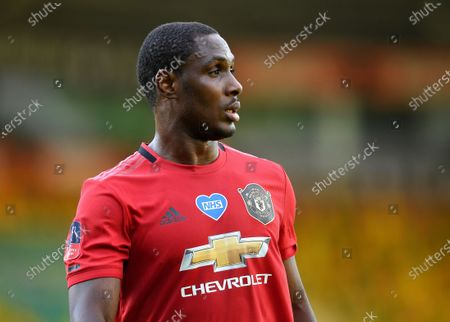 Odion Ighalo of Manchester United reacts during the English FA Cup quarter final soccer match between Norwich City and Manchester United in Norwich, Britain, 27 June 2020.