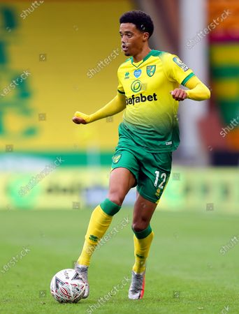 Jamal Lewis of Norwich in action during the English FA Cup quarter final soccer match between Norwich City and Manchester United in Norwich, Britain, 27 June 2020.