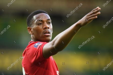 Anthony Martial of Manchester United reacts during the English FA Cup quarter final soccer match between Norwich City and Manchester United in Norwich, Britain, 27 June 2020.