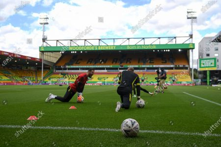 Norwich goalkeepers warm up prior to the English FA Cup quarter final soccer match between Norwich City and Manchester United in Norwich, Britain, 27 June 2020.