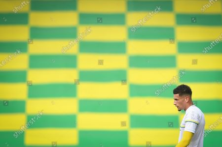 Ben Godfrey of Norwich warms up prior to the English FA Cup quarter final soccer match between Norwich City and Manchester United in Norwich, Britain, 27 June 2020.