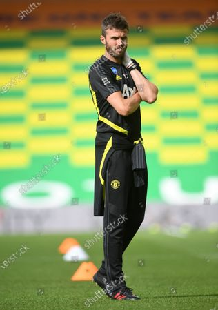 Manchester United's assistant coach Michael Carrick prior to the English FA Cup quarter final soccer match between Norwich City and Manchester United in Norwich, Britain, 27 June 2020.