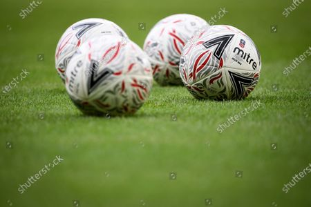 Official Mitre Delta Max match balls on display prior to the English FA Cup quarter final soccer match between Norwich City and Manchester United in Norwich, Britain, 27 June 2020.