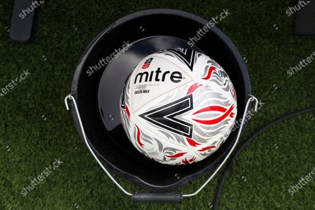 An official Mitre Delta Max match ball inside a bucket filled with disinfectant prior to the English FA Cup quarter final soccer match between Norwich City and Manchester United in Norwich, Britain, 27 June 2020.