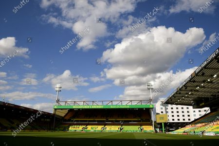 General view of empty stands at Carrow Road Stadium prior to the English FA Cup quarter final soccer match between Norwich City and Manchester United in Norwich, Britain, 27 June 2020.