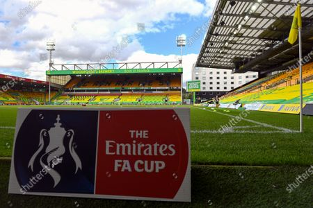 The logo of the FA Cup on display in front of empty stands at Carrow Road Stadium prior to the English FA Cup quarter final soccer match between Norwich City and Manchester United in Norwich, Britain, 27 June 2020.